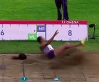 Long Jumper's Wig Flies Off During Hair-Raising Jump