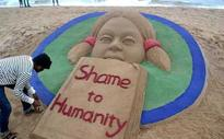 Sand art 'Shame to Humanity' at Odisha beach over on sexual assault 6 yr girl in Bangalore