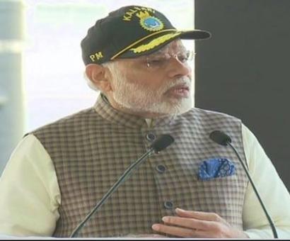 PM Modi dedicates INS Kalvari to the nation