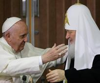 Catholic pope, Orthodox patriarch make history with first meeting in 1,000 years