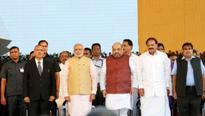 PM attends Maharashtra Government Swearing In Ceremony in Mumbai