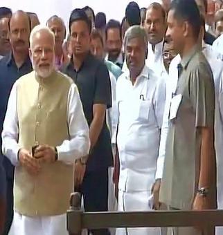 Prez poll begins: PM, Amit Shah vote