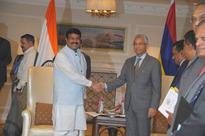 MoS (I/C) for Petroleum and Natural Gas Dharmendra Pradhan meets visiting Prime Minister of Mauritius Mr Pravind Kumar Jugnauth