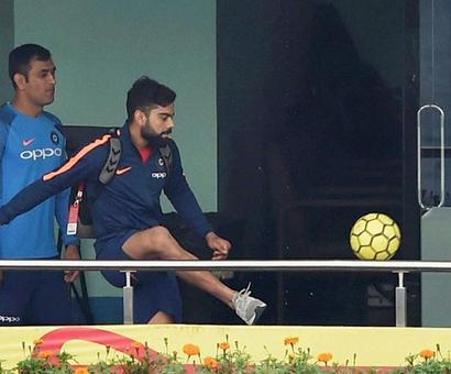 PHOTOS: Football fever hits Team India after nets washed out