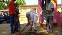 PM Narendra Modi lays foundation stone for toilet under Swachh Bharat Abhiyan in Shahanshahpur