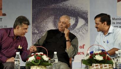 Yashwant Sinha shares dais with Kejriwal, Manish Tewari; BJP fumes