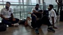 MS Dhoni found sleeping on Chennai Airport's floor
