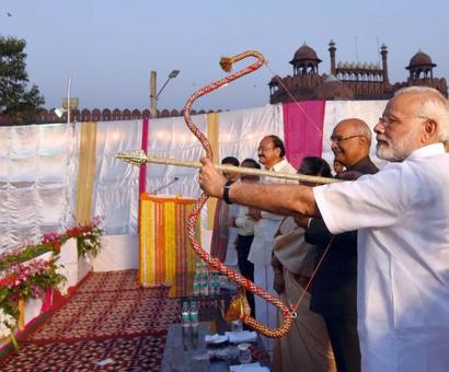 President, Modi attend Dussehra celebrations