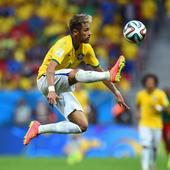 Neymar, who scored two goals for Brazil in the first half of the game against Cameroon. Brazil eventually won 4-1 and finished top of Group A