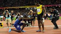 Justin Gatlin gatecrashes Usain Bolt's farewell party