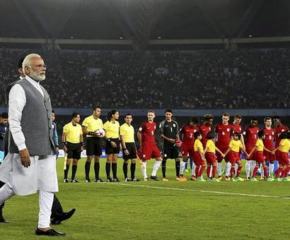 PM Modi graces India's opening Under-17 World Cup match