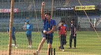 Arjun Tendulkar bowls to Team India at the nets